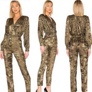 REVOLVE L'Academie Sheila Jumpsuit in Black & Gold